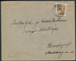 1946 (6. díjszabás) Távolsági levél Betűs Tl.I./10f bérmentesítéssel