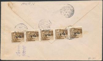 1946 (7. díjszabás) Távolsági levél Betűs Tl.I/10f ötöscsíkkal bérmentesítve