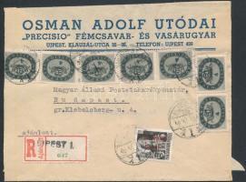 1946 (15. díjszabás) Ajánlott távolsági levél Betűs (III) Távolsági levél/18f + Milliós 7x4mP bérmentesítéssel, a ragjegyen a helységnév gumibélyegzéssel (boríték szétnyitva)