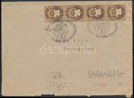 1946 (11. díjszabás) Távolsági levél Lovasfutár 20eP négyescsíkkal bérmentesítve, alkalmi bélyegzéssel MAGYARORSZÁG FELSZABADULÁSÁNAK ÉVFORDULÓJÁRA 1945-1946