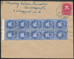 1946 (13. díjszabás) Helyi levél Lovasfutár 15eP tízes tömbbel + 100eP bérmentesítéssel (boríték szétnyitva)