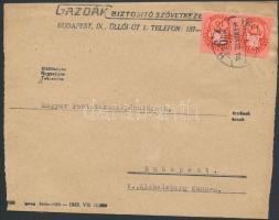 1946 (9. díjszabás) Helyi levél Lovasfutár 2x10eP bérmentesítéssel (boríték szétnyitva)