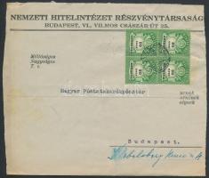 1946 (27. díjszabás) Helyi levél Adópengős 50eAP négyestömbbel bérmentesítve (boríték szétnyitva)