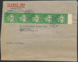 1946 (26. díjszabás) Helyi levél Adópengős 10eAP ívszéli ötöscsíkkal bérmentesítve (boríték szétnyitva)