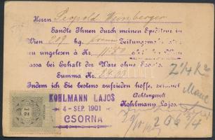 1901 Levelezőlap - számla 2f okmánybélyeggel