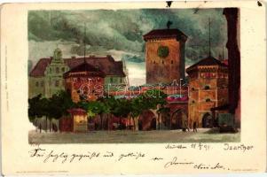 1898 München, Isarthor, Veltens Künstlerpostkarte No. 85. litho s: Kley