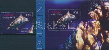 2004 Delfin blokk + blokkból kitépett bélyeg Mi 584 + 4430