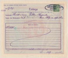 Ausztria / Bécs 1919. Letéti jegy (2x) okmánybélyeggel T:III Austria / Wien 1919. Einlage receipt (2x) with fiscal stamp C:F