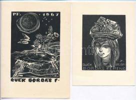 3 kisgrafika: Linómetszetek. Két Bordás Ferenc újévi, egy Balogh jelzéssel ~9x12 cm