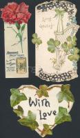 cca 1900 3 db dombornyomott, csipke litho üdvözlő és reklámkártya / 3 embroided litho greeting cards