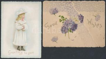 cca 1900 2 db dombornyomott, litho üdvözlő kártya / 2 itho greeting cards