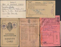 cca 1930-1945 Angol okmány tétel. benne személyi igazolványok, jegyfüzetek, összesen kb 10 db
