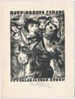 Bordás Ferenc (1911-1982) Újévi üdvözlet, fametszet, papír, jelzett 12x15 cm