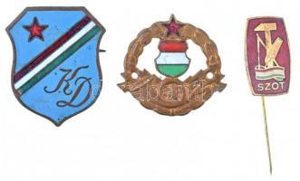 6db-os vegyes magyar jelvény és kitűző tétel, közte SZOT, KISZ Önkéntes Ifjúsági Tábor 1961 T:2