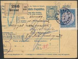 1923 (7. díjszabás) Csomagszállító Koronás Madonna 200K bérmentesítéssel, az illeték Hivatalos bélyegekkel kiegészítve
