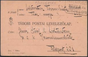 1915 Tábori lap FÖVENYPUSZT(A) postaügynökségi bélyegzéssel