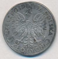 Lengyelország 1934. 5Zl Ag T:2,2- kis patina, ph.  Poland 1934. 5 Zlotych Ag C:XF,VF small patina, edge error Krause Y#21
