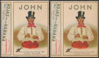 cca 1890 John cigarillos 2 db litho szivarka doboz / Vintage Cuban cigar boxes