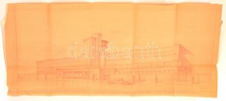 Az 1933-ban megnyitott kerepesi úti ügető (BÜE) tribünjének látványterve (a tervező: ifj. Paulheim Ferenc), hajtogatva. Pecséttel jelzett. Méret: 105x50 cm / 1933 Plan of the Budapest Trotting Race Tracks, Good condition, Size, 105x50cm