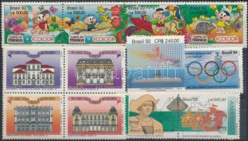 1992-1993 2 diff stamps + pair, stripe of 4, block of 4, 1992-1993 2 klf érték + pár, négyescsík, 4-es tömb