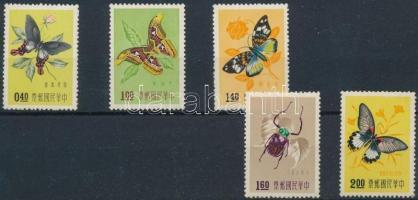 1958 Bogarak és lepkék sor 5 értéke Mi 283-287 (hiányzik/ missing Mi 282)