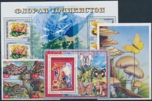 1991-2002 Mushrooms 1 set + 3 blocks, 1991-2002 Gomba motívum 1 db sor négyestömbben + 3 klf blokk