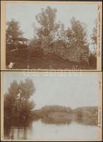 1900 Várrom a kamarási erdőben és a kamarási tó, 2 db vintage fotó feliratozva, egyiken sérülés, 11x16 cm