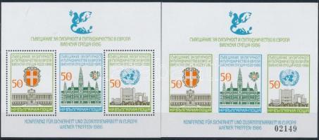 1986 Biztonsági és Együttműködési Szervezet fogazott és vágott blokk Mi 168 A + B (Mi 168 B saroktörés)