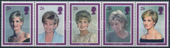 1998 Diana hercegnő ötöscsík Mi 1729-1733