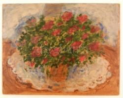 Somlai Vilma (1938-2007): Esti azalea. Olajl farost, jelzett, 40×50 cm