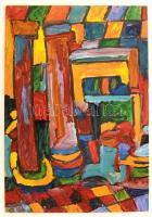 Cs. Németh Miklós (1934-2012): Oszlopok. Olaj, farost, jelzett, 43×30 cm