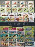 Fishes 92 stamps + 1 block, Hal motívum 92 db bélyeg és 1 blokk 4 stecklapon
