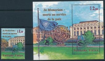 Fighter for peace stamp + block, Az elesett békeharcosokért bélyeg + blokk