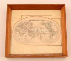 1849 Föld képe. Rézmetszetű térkép, üvegezett keretben / Map of the Globe in glazed frame 29x32 cm