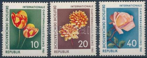 1961 Nemzetközi kertészeti kiállítás, virágok sor Mi 854-856