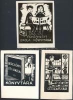 Takács Dezső (1933-): Iskolai ex librisek (3db). Linó, papír, jelzett a linón, 9×8-11×9 cm