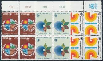 1980-1982 3 diff margin blocks of 4, 1980-1982 3 kf ívszéli 4-es tömb