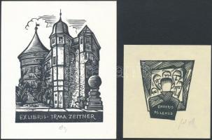 Herbert Ott(1915-?): 2 db ex libris (Irma Zeitner, Lenze). Fametszet, papír, jelzett, 5×5-10×7 cm