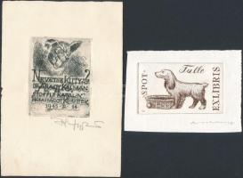 2 db jelzett kutyás ex libris Rézkarc, papír. / Etched, signed bookplates. Dogs.5x8, 8x6 cm