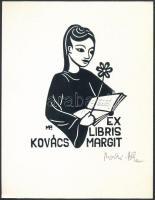 Meskó Anna (1943-2010)- Póka György (1944-): Ex libris Kovács Margit. Linó, papír, jelzett, 13x10 cm