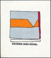 Cees Andriessen(1940-): Ex libris Inge Rödel. Linó, papír, hátoldalon feliratozva, 7x6,5 cm