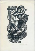Silvi Väljal(1928-2014): Ex libris Jan Gastmans. Linó, papír, jelzett, 12x7 cm