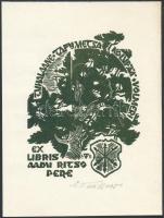 Väino Tönisson(?-?): Ex libris Aadu Ritso Pere. Fametszet, papír, jelzett, 9x7 cm