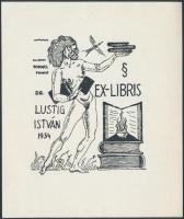 Schorr Tibor (?-?): Lustig István erotikus ex libris. Klisé, papír, jelzett a klisén, 12x10 cm