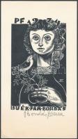 Bordás Ferenc (1911-1982) Újévi üdvözlet, fametszet, papír, jelzett 16x9 cm