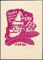 Bánsági András (1934-1993): Kisgrafika Barátok Köre Mikulás est. Linó, papír, jelzett, saját kezűleg írt meghívó lap 11×10 cm