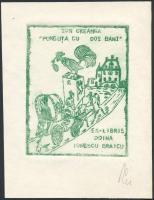 Franz Illi (1932-): Ex Libris Doina Ionescu Braicu. Rézmetszet, papír, jelzett, 9×7 cm