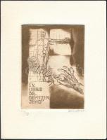 Bálint Ferenc (1960-): Ex Libris dr. Demeter Jenő, Anatómia. Rézkarc-mezzotinta, papír, jelzett, 8x6 cm.
