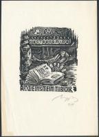 Nagy Lázár László (1935-): Gastronomica, Ex Libris Rosenstein Tibor. Fametszet, papír, jelzett