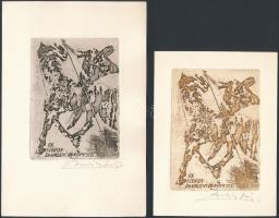 Bardócz Lajos (1936- ): Ex libris Dr. Valentin Popescu, 2 db ex libris, rézkarc, jelzett, 9×6,5 cm